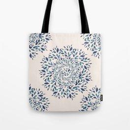 Indigo Leaves Mandala Tote Bag