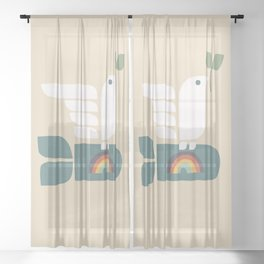 Peace dove and rainbow bomb Sheer Curtain