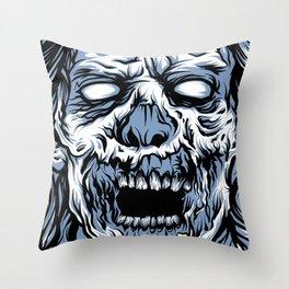 Blue Boxed Zombie Throw Pillow