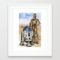 starwars Framed Art Prints featuring StarWars Droids by Alex Heuchert