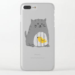 A cat that swallows a bird Clear iPhone Case