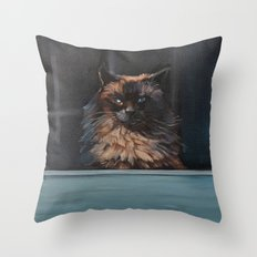 Ragdoll Cat Blue Eyes Inside (screen door with gingerbread)  Throw Pillow
