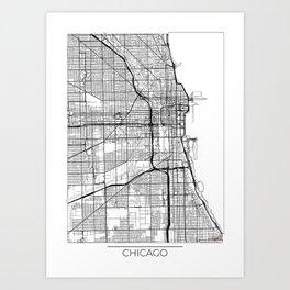 Chicago Map White Art Print