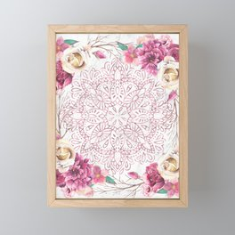 Rose Gold Mandala Garden on Marble Framed Mini Art Print