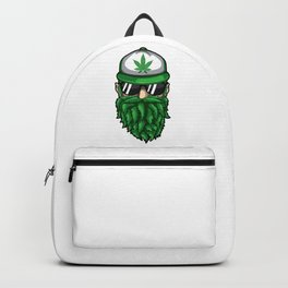 Beard from Cannabis Leaves - Weed Hipster Smoker Backpack