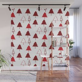 Christmas Tree Red and White Wall Mural