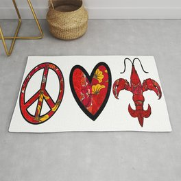 Red & Yellow Peace Love and Crawfish Design Rug
