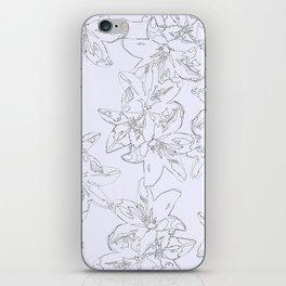 lavender line art floral pattern iPhone Skin