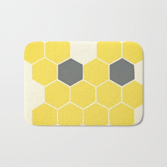 Yellow Honeycomb Bath Mat