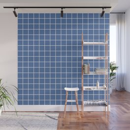Blue yonder - blue color - White Lines Grid Pattern Wall Mural