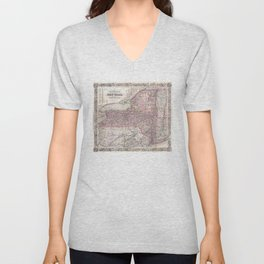 Vintage New York State Railroad Map (1876) Unisex V-Neck