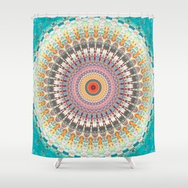 Teal Orange Yellow Boho Mandala Shower Curtain