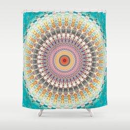 Teal Orange Yellow Boho Mandala Shower Curtain