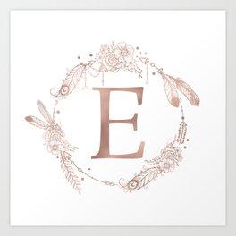 Letter E Rose Gold Pink Initial Monogram Art Print