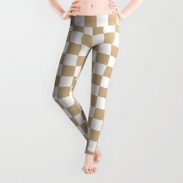 Small Checkered - White and Tan Brown Leggings