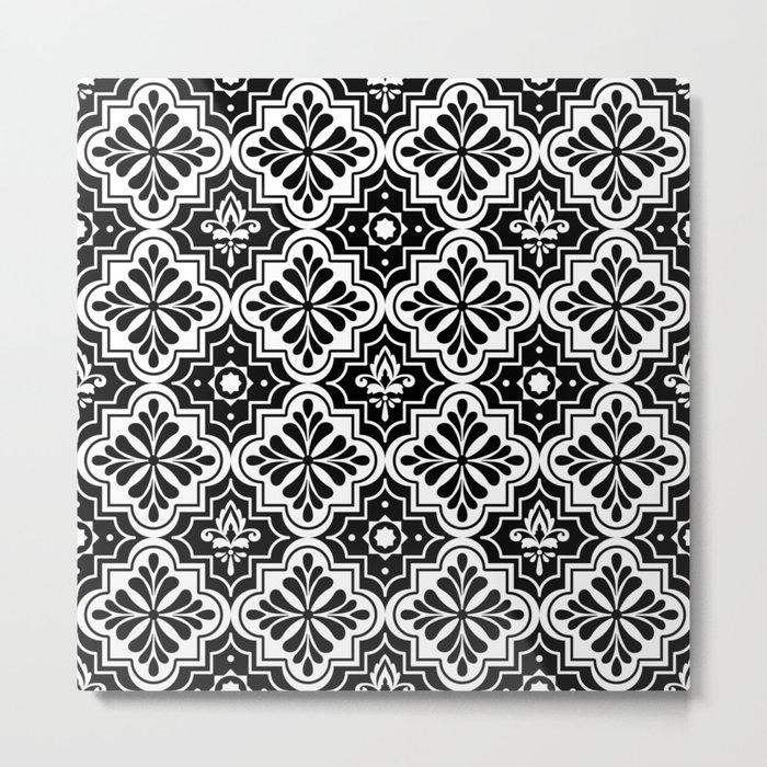 Black and White Geometric Ornamental Moroccan Pattern Metal Print