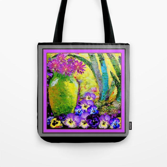 Chartreuse-Violet art Vase Pansies Floral Painting Tote Bag