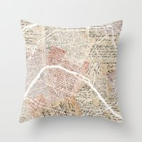 paris map Throw Pillows featuring Paris map by Mapsland