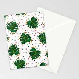 Monstera Leaves with Gold Pink and Green Geometric Confetti Stationery Cards