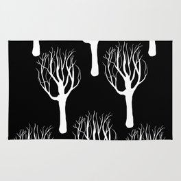 Black and White Forest Print Rug