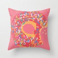 doughnut Throw Pillows featuring Doughnut by Fischerboy