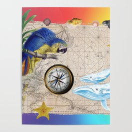 Tropical Paradise Rainbow Collage Poster