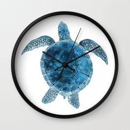 Watercolor Sea Turtle - Turquoise Blue Wall Clock