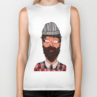 larry stylinson Biker Tanks featuring Larry Lumberjack by ALFIE creative design
