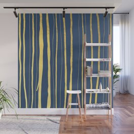 Vertical Living Navy and Gold Wall Mural