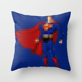 Man of Steel - Toy Building Bricks Throw Pillow