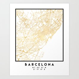 BARCELONA SPAIN CITY STREET MAP ART Art Print