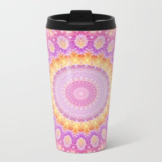 Mandala of Summer in Pink, Orange and Purple Metal Travel Mug