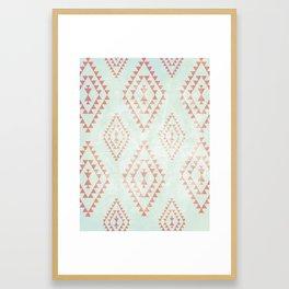 mint & coral tribal pattern Framed Art Print
