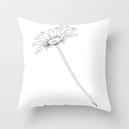 Line drawing of daisy flower Throw Pillow