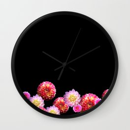 Dahlias on Black Wall Clock