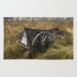 Old Broken Down Wooden Farm Wagon in the Grass Rug