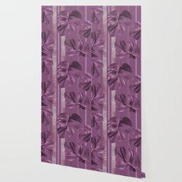 Violet Monstera leaf Stripes Wallpaper