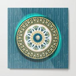 Turquoise Lotus Mandala Metal Print
