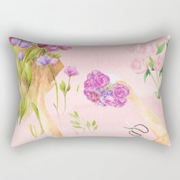 Flower Arranging Watercolor Painting Rectangular Pillow
