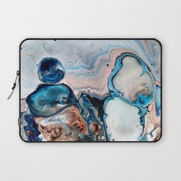 Blue Abstract Acrylic Painting - Fluid Technique  - Close-Up Laptop Sleeve