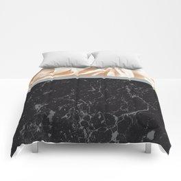 Cafe Au Lait Flower Meets Gray Black Marble #2 #decor #art #society6 Comforters