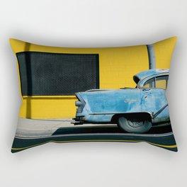 Rusty Blue Car and Yellow Wall Rectangular Pillow