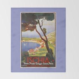 Ischia Island Italy summer travel ad Throw Blanket