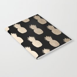 Gold Pineapples Pattern Black Notebook