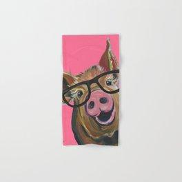 Pink Pig Painting, Cute Farm Animal Hand & Bath Towel