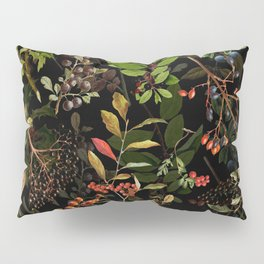 Vintage & Shabby Chic - vintage botanical wildflowers and berries on black Pillow Sham