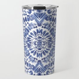 Abstract Indigo Pattern No.1 Travel Mug