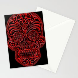 Intricate Red and Black Day of the Dead Sugar Skull Stationery Cards