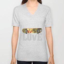 Skateboard Love | Skateboarder Gift Skating Unisex V-Neck