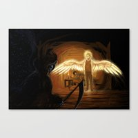 good omens Canvas Prints featuring Good Omens: Too Fine a Point by Katerina Romanova